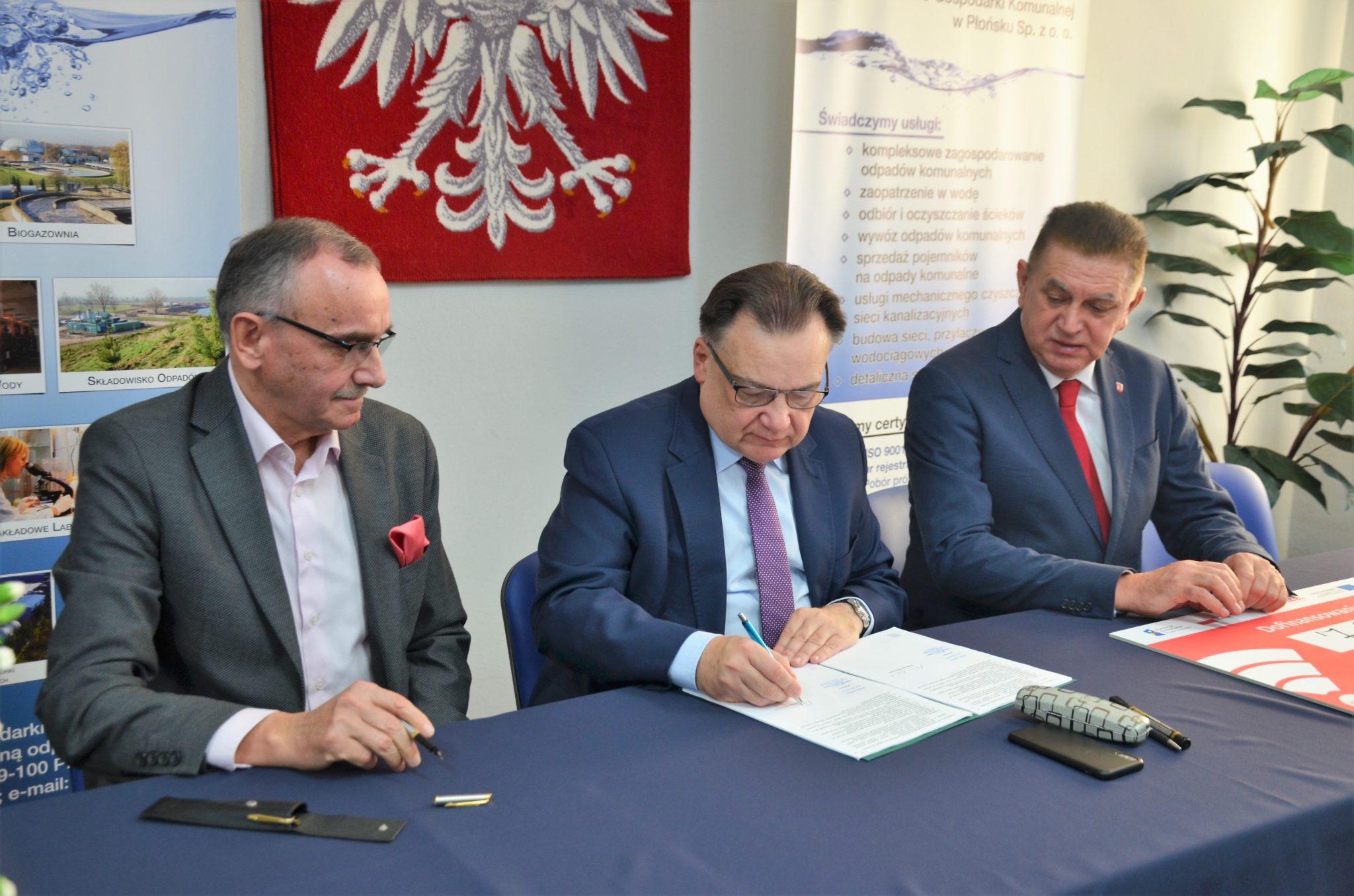 Uroczyste podpisanie umowy o dofinansowanie unijne projektu z dz. 5.2 Gospodarka odpadami