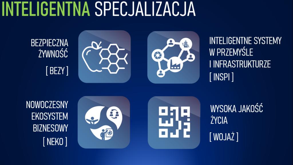 Po aktualizacji obszary inteligentnej specjalizacji Mazowsza to: bezpieczna żywność (BEZY), inteligentne systemy w przemyśle i infrastrukturze (INSPI), nowoczesny ekosystem biznesowy (NEKO), wysoka jakość życia (WOJAŻ).