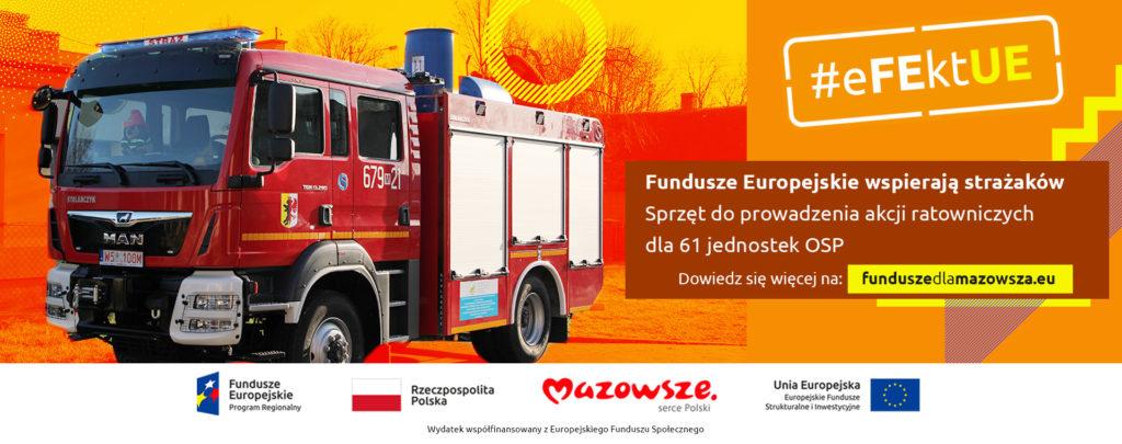 Samochód ratowniczo-gaśniczy zakupiony ze środków w ramach funduszy europejskich