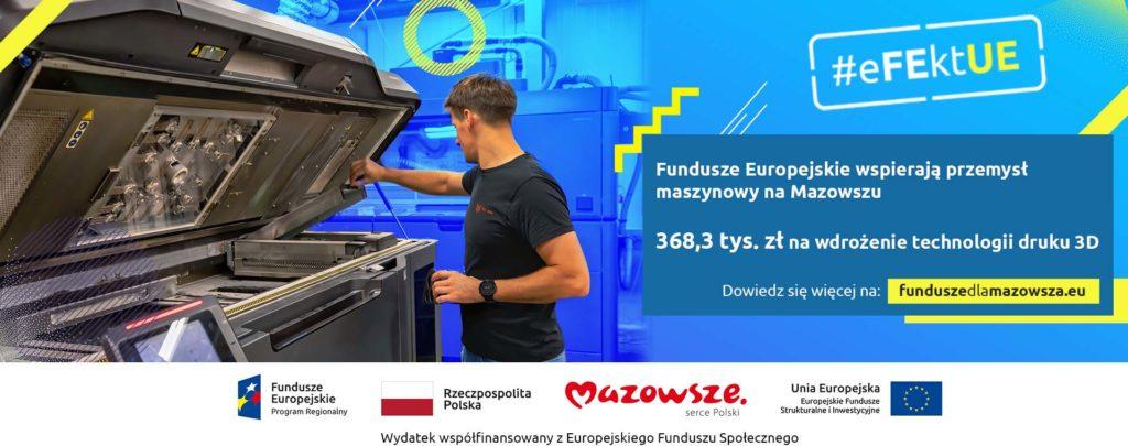 Infografika przedstawiająca drukarkę 3D i napisem 368,3 tys. zł na wdrożenie technologii druku 3D