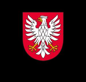 Orzeł na czerwonym tle będący herbem Województwa Mazowieckiego